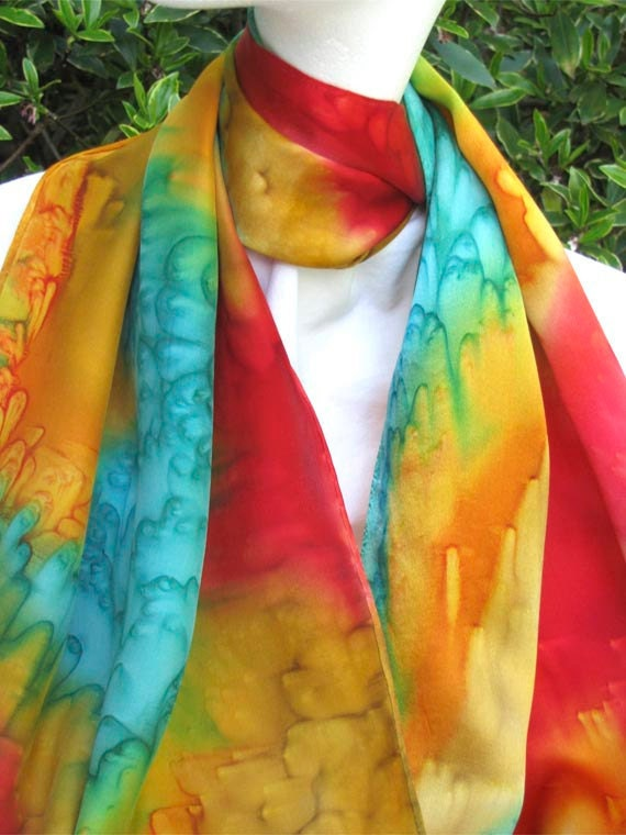 SILK SCARF Hand Painted in Red, Gold and Turquoise