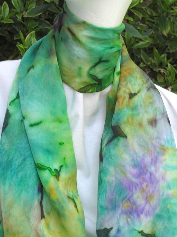 Long Silk Scarf, Hand Painted in Green, Teal, Purple and Gold