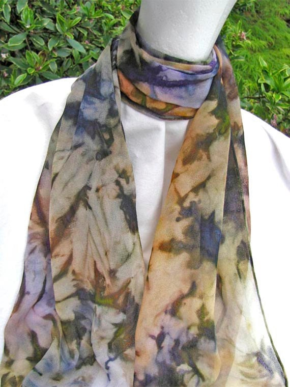 SILK SCARF Extra Long, Hand Painted Jewel Tones