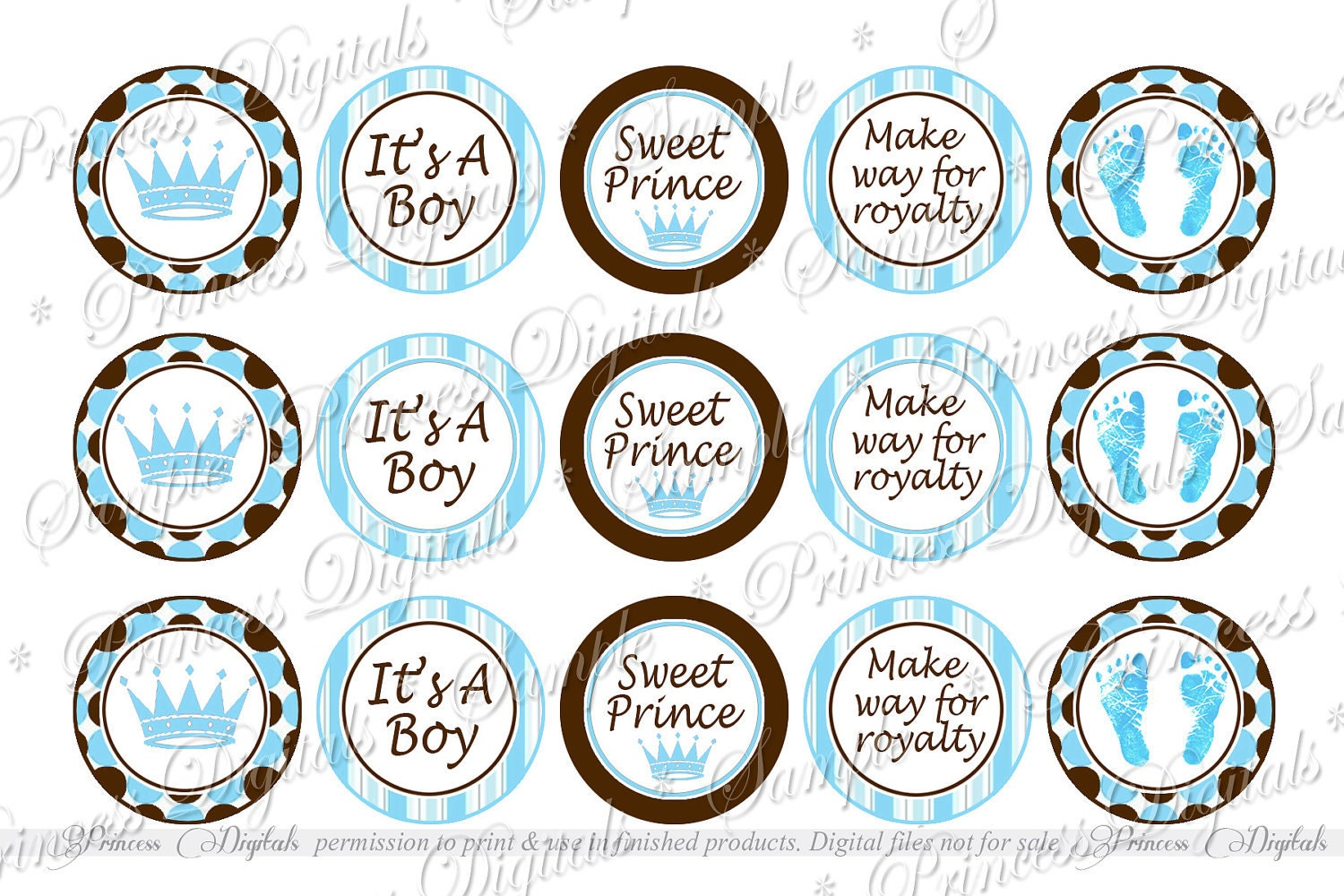 Baby Shower It's a Boy Sweet Prince cupcake by PrincessDigitals