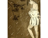 Girl in the rain etching . 8.5 x 11 art print