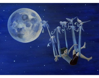 Girl fllying with birds in the night sky . 8.5 x 11 art print