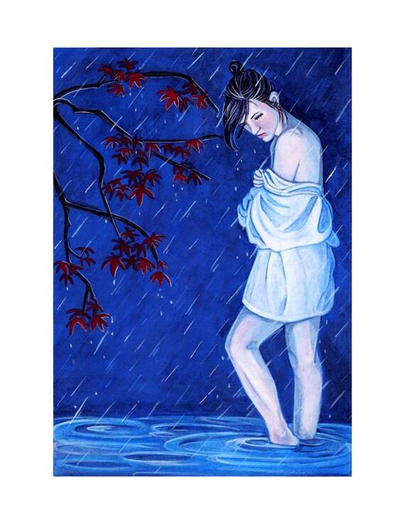 Girl in the rain . 8.5 x 11 art print