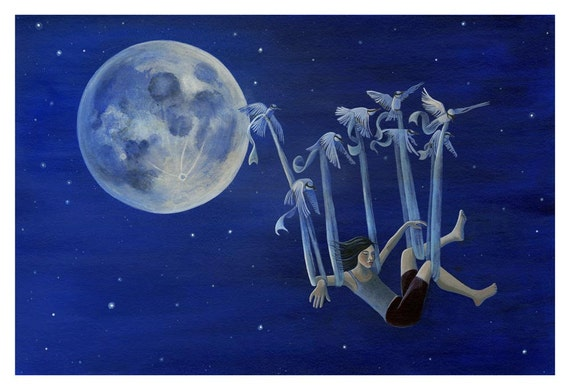 Girl fllying with birds in the night sky . 13 x 19 art print