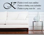 """Kindness in thinking, giving 23""""w x 5""""h- Vinyl Decal for walls, tile, doors, windows, mirrors, crafts and more FA009"""