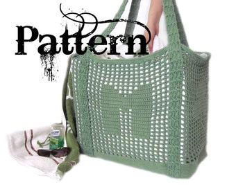 Crochet Tote Pattern - Initial Filet Crochet Bag