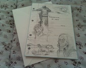 ORIGINAL ARTWORK - Handdrawn 'Thinking of You' greeting card - little sketches in pencil
