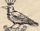 Crow with Crown - Embroidered Decorative Linen Kitchen Towel or Absorbent White Cotton Flour Sack Towel