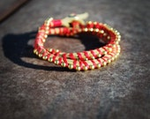 The Luxe Bracelet - Double Strand, Suede, Coral Red Embroidery Thread, Gold Ball Chain, Hex Nut Closure