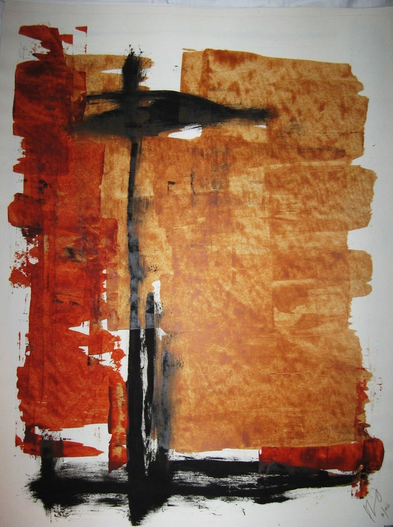 """Abstract Minimal Mixed Media on Paper 18"""" x 24"""""""