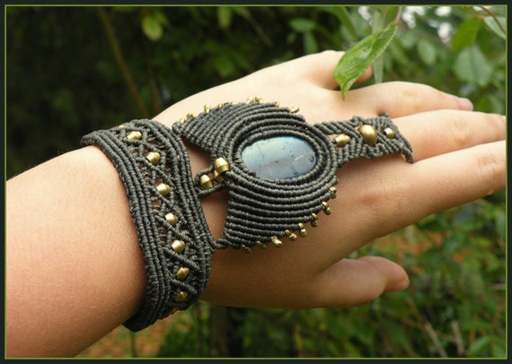 Unique Hand-Made ''Earthen Warrior'' Labradorite/Macrame Hand-Peice/Bracelet/Wearable Art in Forest Green.Tribal accessory/gypsy/ethnic
