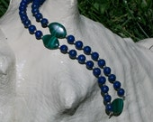 "Earth Day Lapis Lazuli and Malachite ""Pearl-Strand"" Style Necklace"