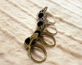 Gold and Silver Cast Sparrow Skull Thumb Rings size 7.5/8 Steampunk /// SKULI