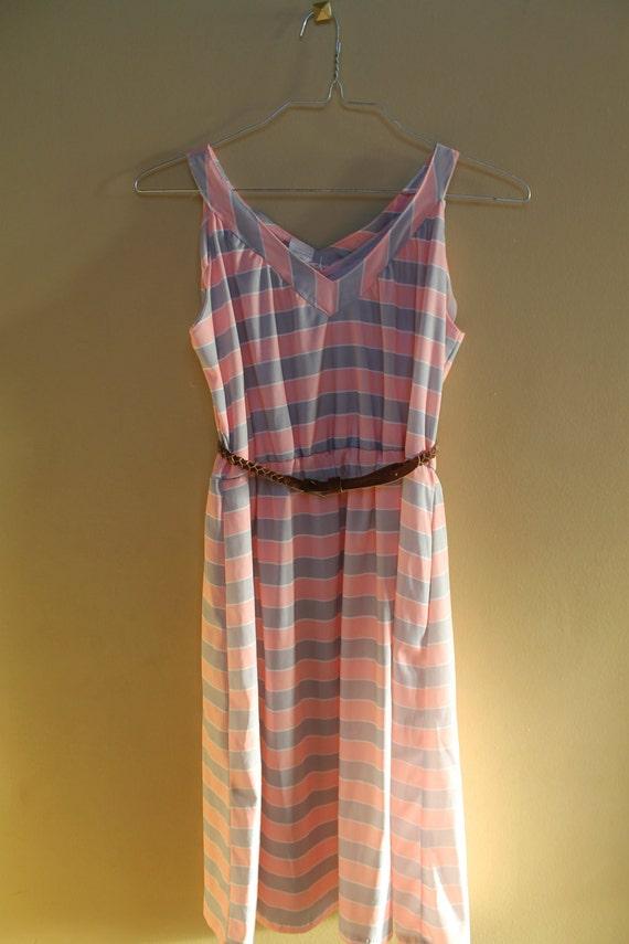 RESERVED FOR SANDRALEA119 Striped Vintage Retro  Sleeveless Sun Dress Pink and Gray V-Neck