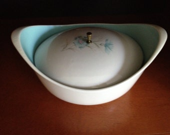 Taylor Smith Taylor - Boutonniere Pattern - Covered Oval Casserole Ever Yours Aqua Mid Century