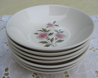Vintage Set of 4 Berry Bowls - Taylor Smith Taylor - Wild Quince Pattern with Pink and Tan Flowers - Mid Century