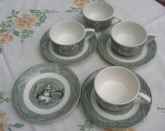 Set of 4 Royal China The Old Curiosity Shop Cups and Saucers - Set of 4 - 1950s (2 sets available)