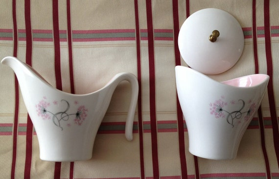 Set of Taylor Smith Taylor Mid Century Creamer and Sugar with Lid in Pink Lace Pattern