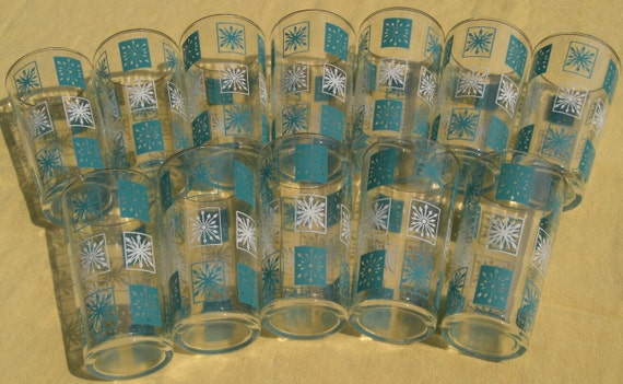 Vintage Set of Six (6) Atomic Snowflake Turquoise White 12 Oz. HighBall Glasses Gold Rim- Two Sets (12) Available