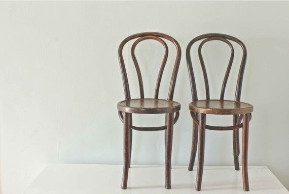 Wood Bistro Chairs, Thonet Style Bentwood from the 1930's