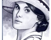 Original Art Downton Abbey Sketch Card of Lady Mary ACEO