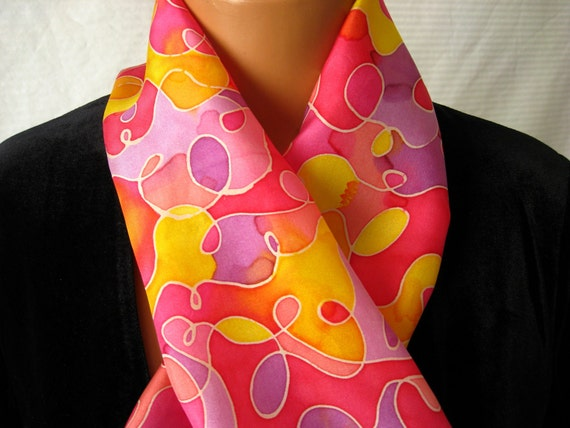 An explosion of happy colors. Hand Painted Silk Scarf. Hand Dyed  Bright Swirls Pinks, Purples, Yellows & Oranges. Silk Scarves 11x60 inch.