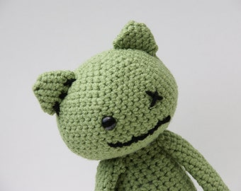 Spencer the Zombie Kitty & Brain - Made-to-Order Amigurumi Stuffed Animal