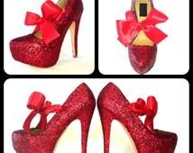 Glitter High Heels - Red Pumps - Scarlet Sparkly Platform Shoes - Red Satin Bows