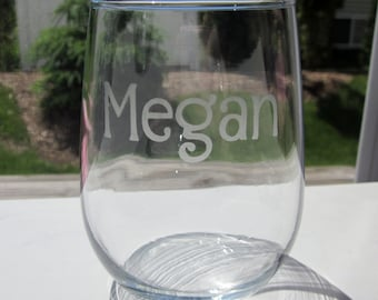 Etched Stemless Wine Glasses - 1 Name/Word