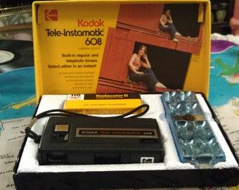 Vintage Kodak Tele-Instamatic 608 NIB, Complete Set 70s