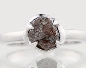 2.20 carat Rich Brown Raw Uncut Natural Rough Diamond Solitaire Prong Set Silver Ring