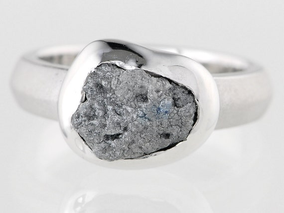 2.99 carat Nice Interesting Natural Rough Diamond Unique Custom Made Silver Ring