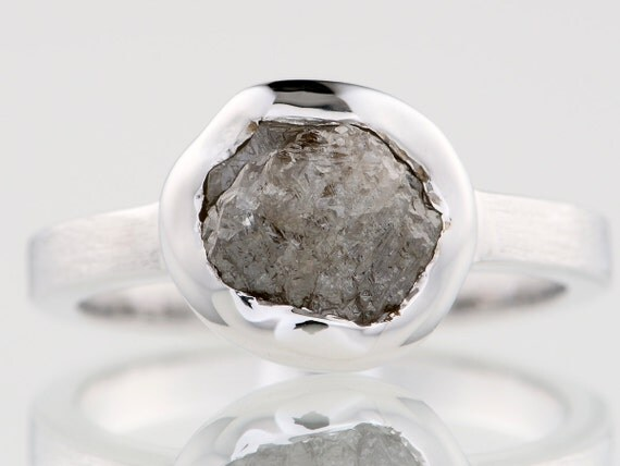 2.18 carat Silvery Raw Uncut Natural Rough Diamond Solitaire Bezel Set Silver Ring
