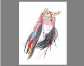 UTHA Hat Tribal Girl Illustration