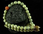 Yoga Bracelet - Wrist Mala - 27 Bead Japa, Tiger Eye Shiva Lingam, Om Meditation, Rudraksha, Yoga Stretch Bracelet
