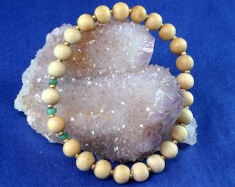 Emerald Yoga Jewelry, Sandalwood Mala Beads, Mala, Yoga Stretch Bracelet, Om Jewelry, Wrist Mala, Yoga Bracelets, Mala Bracelet
