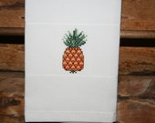 Cross Stitched Pineapple on Huck Towel. One of my Fruit Motifs.