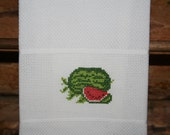 Cross Stitched Watermelon on huck material hand towel. One of my Fruit Motifs.