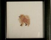 Pomeranian Cream Cross Stitched Full Body Dog.