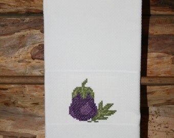 Cross Stitched Eggplant on huck material hand towel. One of my Vegetable Motifs.
