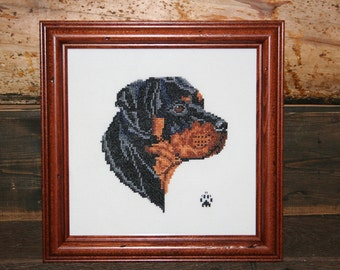 Rottweiler Cross Stitched Full Face Dog.
