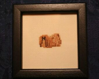 Pekingese Cross Stitched Full Body Dog.