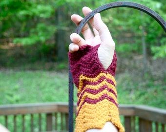 Crocheted Wrist Warmers. Burgandy and Gold.