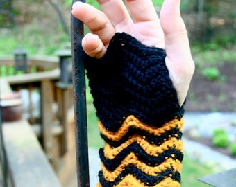 Crocheted Wrist Warmers. Gold and Black.