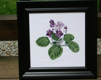Cross Stitched Violets.