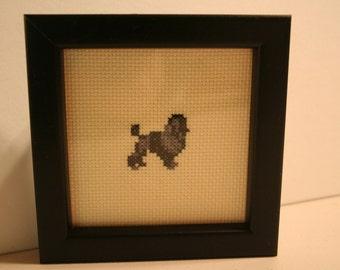Miniature Poodle Black Cross Stitched Full Body Dog.