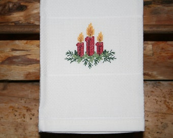 Christmas Huck Towel with Cross Stitched Candles.