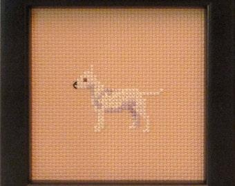 Bull Terrier White Cross Stitched Full Body Dog.