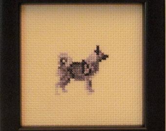 Norwegian Elkhound Cross Stitched Full Body Dog.