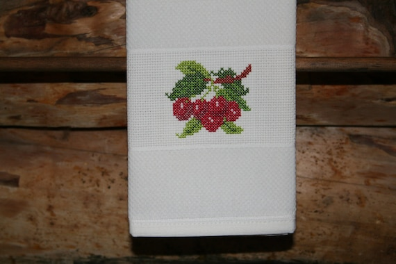 Cross Stitched Cherries on huck material hand towel. One of my Fruit Motifs.
